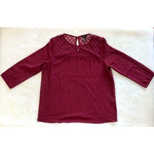 Forever 21 Burgundy Red Lace 3/4 Sleeve Blouse